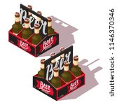 two sides beer pack icon with... | Shutterstock .eps vector #1146370346