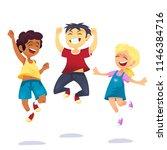 happy school multiracial... | Shutterstock .eps vector #1146384716
