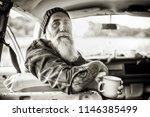 portrait of a senior hipster... | Shutterstock . vector #1146385499