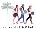 three teenage girls going back... | Shutterstock .eps vector #1146385649