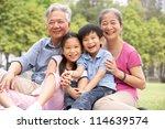 chinese grandparents sitting...   Shutterstock . vector #114639574