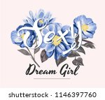 Sexy Slogan With Blue Flower...