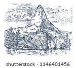 mountains peaks  vintage... | Shutterstock .eps vector #1146401456