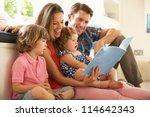 parents sitting with children... | Shutterstock . vector #114642343