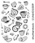 tea cups  saucers  spoons...   Shutterstock .eps vector #1146431009