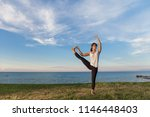 young girl practice yoga... | Shutterstock . vector #1146448403