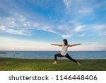 young girl practice yoga... | Shutterstock . vector #1146448406