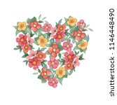 watercolor bouquet heart with... | Shutterstock . vector #1146448490