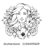 beautiful girl with flowers.... | Shutterstock .eps vector #1146449669