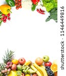 frame of fresh vegetables and... | Shutterstock . vector #1146449816