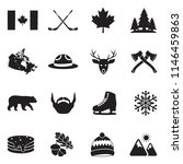 canada icons. black flat design.... | Shutterstock .eps vector #1146459863