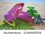 pink aura quartz cluster  rose...   Shutterstock . vector #1146465956