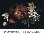 Stock photo floral vintage card with flowers peonies tulips lily hydrangea on black background template 1146476300