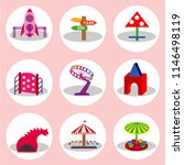 amusement park flat icons set... | Shutterstock .eps vector #1146498119