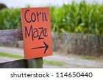 Orange Corn Maze Sign With...