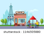 young couple in paris street... | Shutterstock .eps vector #1146505880