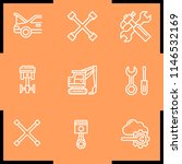 simple set of 9 outline wrench... | Shutterstock .eps vector #1146532169