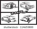 set of four monochrome car | Shutterstock .eps vector #114653800