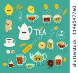 funny black tea  green tea ... | Shutterstock .eps vector #1146547760