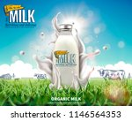 organic bottle milk ads with... | Shutterstock .eps vector #1146564353