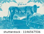 lovely dairy cattle in... | Shutterstock .eps vector #1146567536