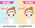 woman with dry skin on the blue ... | Shutterstock .eps vector #1146607049