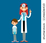 friendly happy female doctor... | Shutterstock .eps vector #1146636410