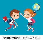 two pupils jumping together ... | Shutterstock .eps vector #1146636413