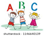 three happy children and abc... | Shutterstock .eps vector #1146640139
