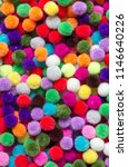 top view of  colorful  pom pom... | Shutterstock . vector #1146640226