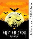 happy halloween poster with... | Shutterstock .eps vector #1146674636