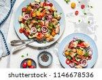 panzanella  italian bread and... | Shutterstock . vector #1146678536