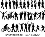 34 human figure silhouettes in... | Shutterstock . vector #11466820