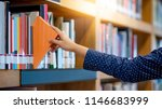 male student hand choosing and... | Shutterstock . vector #1146683999