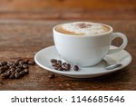 morning cappuccino on wooden ... | Shutterstock . vector #1146685646
