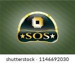 gold emblem with microchip ... | Shutterstock .eps vector #1146692030