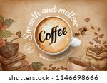 coffee ads with top view 3d... | Shutterstock .eps vector #1146698666