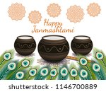 happy janmashtami. indian... | Shutterstock .eps vector #1146700889
