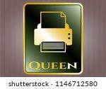 golden badge with printer icon ... | Shutterstock .eps vector #1146712580