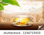 green tea bag ads with 3d... | Shutterstock .eps vector #1146715433