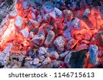 brightly glowing hot coals with ... | Shutterstock . vector #1146715613