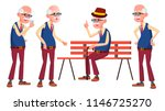 Old Man Poses Set Vector....