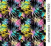seamless summer tropical leaves ... | Shutterstock .eps vector #1146739820