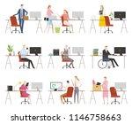 various characters working in... | Shutterstock .eps vector #1146758663