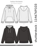 hoody fashion flat sketches... | Shutterstock .eps vector #1146769103