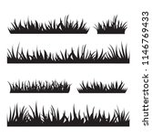 black tufts of grass. a set of... | Shutterstock .eps vector #1146769433