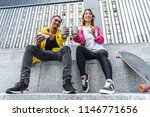 low angle view of smiling... | Shutterstock . vector #1146771656
