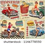 set of american diner vintage... | Shutterstock . vector #1146778550