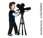 color professional cameraman... | Shutterstock .eps vector #1146786803