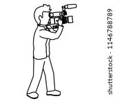 line cute cameraman with... | Shutterstock .eps vector #1146788789